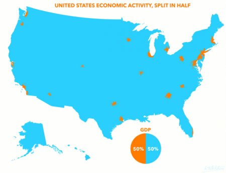 Half of gdp in metro areas